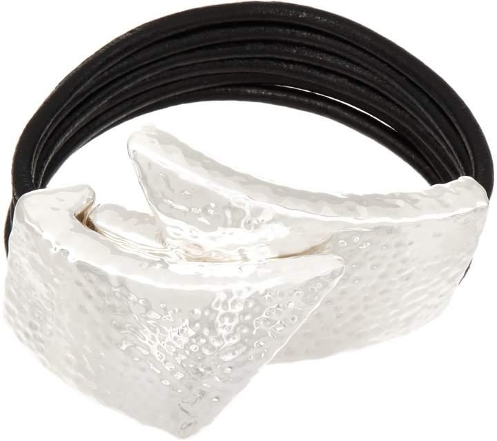 Simon Sebbag Sterling Silver & Leather Magnetic Bracelet