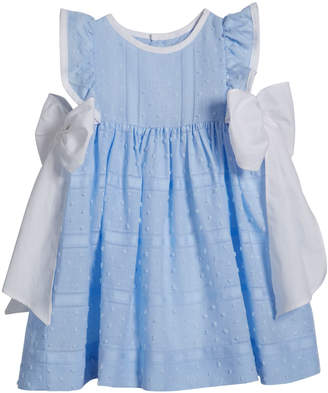 Luli & Me Girl's Swiss Dot Bow Dress, Size 12-24 Months