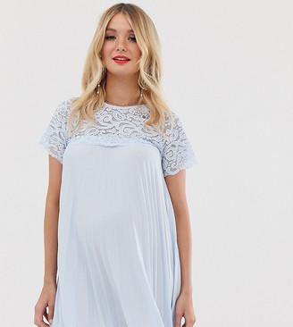 ASOS DESIGN Maternity lace insert pleated mini dress