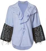 Tome 'Thin Stripe Tweed Ruffle' shirt