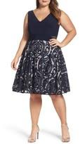 Xscape Evenings Plus Size Women's Flocked Skirt Party Dress