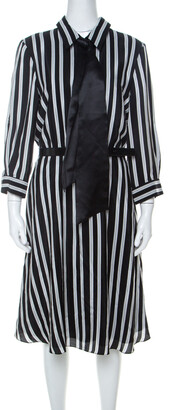 Alice + Olivia Employed Monochrome Striped Silk Necktie Detail Belted Dress L