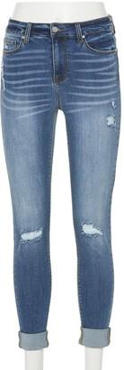 Juniors' Indigo Rein Midrise Cuffed Skinny Jeans