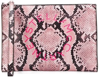 Stella McCartney Stella Logo snake-effect clutch
