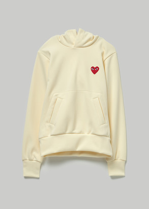 Comme des Garcons Women's Red Heart Hooded Sweatshirt in Ivory Size Small 100% Polyester