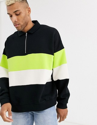 Asos DESIGN oversized sweatshirt with half zip harrington collar & color blocking