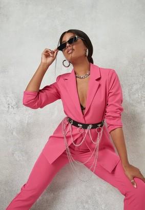 Missguided Hot Pink Oversized Tailored Boyfriend Blazer