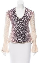 Just Cavalli Long Sleeve Abstract Print Top