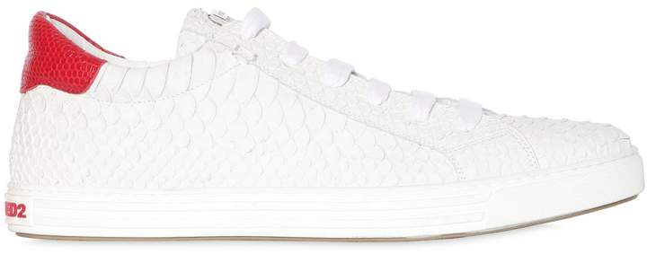 DSQUARED2 Tennis Club Embossed Leather Sneakers