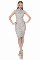 Terani Couture 1611C0045A Beaded High Neck Sheath Dress