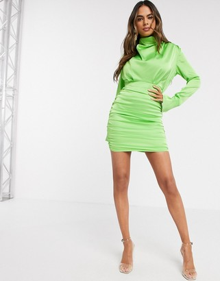 Love & Other Things satin high neck mini dress in green