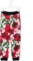 Philipp Plein Junior roses print jogging trousers