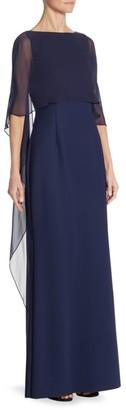 Teri Jon By Rickie Freeman Scuba Gown Chiffon Overlay Dress