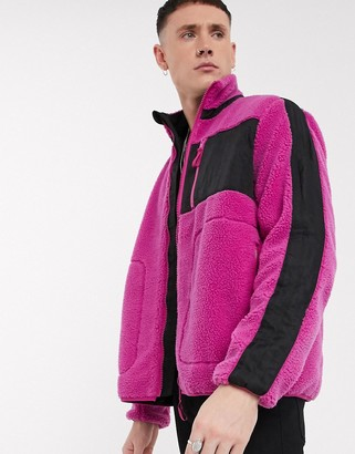 ASOS DESIGN teddy lounge jacket with pocket detail in pink and black