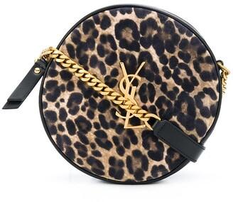 Saint Laurent Vinyle leopard-print round camera bag