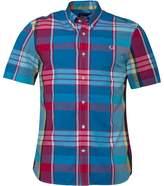 Fred Perry Mens Madras Tartan Long Sleeve Shirt Fuchsia