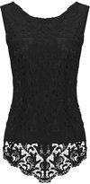 Fashion Story Women's Sleeveless Embroidery Chiffon Lace Vest Tank Cami Tee Shirt Blouse Tops