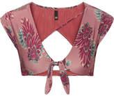 Vix Birds Printed Cutout Bikini Top - Plum