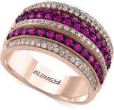 Effy Final Call Ruby (3/4 ct. t.w.) and Diamond (3/8 ct. t.w.) Multi-Row Statement Ring in 14k Rose Gold