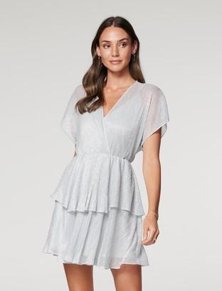 Forever New Kyra Plisse Skater Mini Dress - Silver - 10