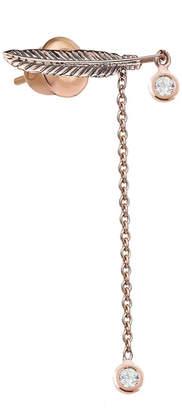 Kismet by Milka 14k Rose Gold 2-Diamond Feather Dangle Earring (Single)