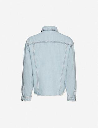 Topshop Raw-hem oversized denim jacket