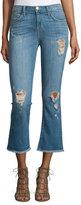 Current/Elliott The Kick Flare-Leg Cropped Jeans, Blue Ocean Destroy