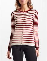 Maison Scotch Long Sleeve Stripe Cardigan, Red/White
