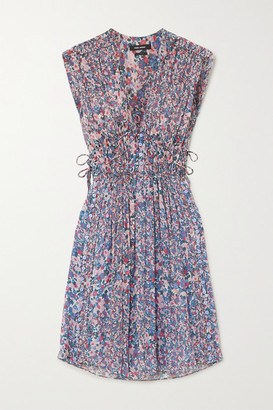 Isabel Marant Oaxoli Button-detailed Pleated Floral-print Silk-voile Dress - Blue