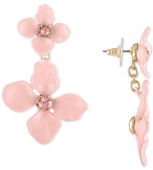 Rachel Roy Gold-Tone Double Flower Drop Earrings