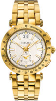 Versace Men's Swiss Chronograph V Race Diver Gold-Tone Ion-Plated Stainless Steel Bracelet Watch and Interchangeable Strap 42mm VAH03 0016
