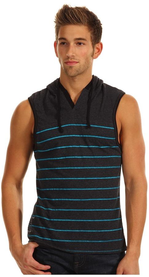 Ecko Unlimited Striped Sleeveless Hoodie (Black) - Apparel