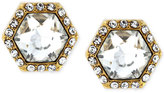 Vince Camuto Gold-Tone Hexagon Crystal and Pavé Stud Earrings