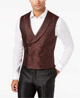 Tallia Men's Slim-Fit Burgundy Paisley Double-Breasted Vest