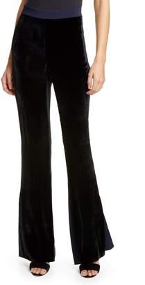 Cushnie Velvet Front High Waist Side Slit Flare Pants