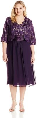Le Bos Women's Plus-Size Scallop Lace Jacket and Dress Set