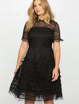 ELOQUII Plus Size Studio Lace Ruffle Dress
