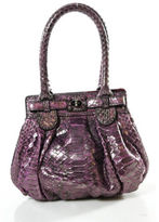 Zagliani Pink Metallic Python Snakeskin Silver Tone The Bag Satchel Handbag