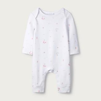 The White Company Mermaid Print Sleepsuit, White, Newborn