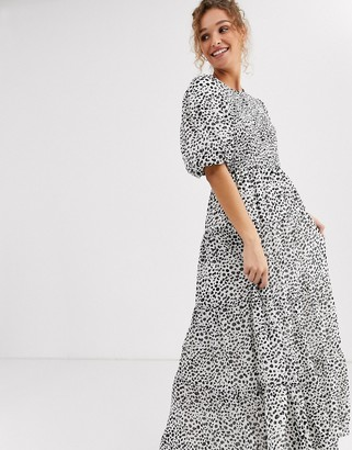 ASOS DESIGN shirred tiered maxi dress in mono spot print