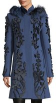 Elie Tahari Julia Fur-Trim Appliqué Wool Coat
