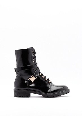 Nasty Gal Womens What's the Lace Patent Faux Leather Buckle Boots - Black