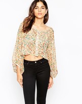 Pussycat London Blouse In Ditsy Floral Print