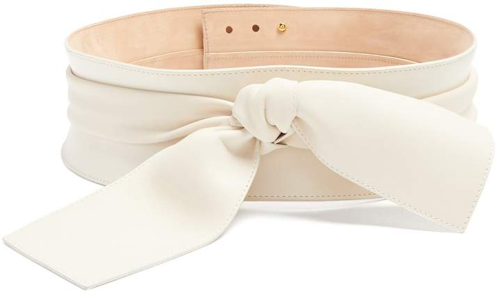 Alexander McQueen Wide knot-embellished leather belt