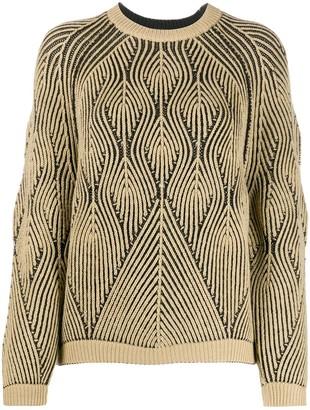 Alberta Ferretti Geometric-Pattern Virgin Wool Jumper
