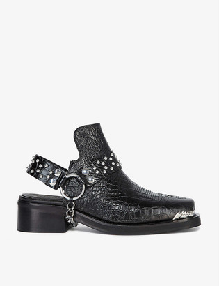 The Kooples Chain-trimmed croc-effect leather sandals