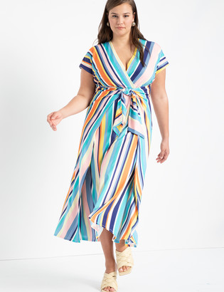 ELOQUII Easy Maxi Dress With Wrap Tie Skirt