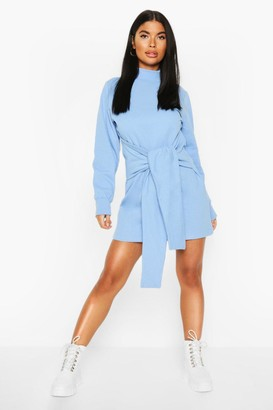 boohoo Petite Tie Front Sweat Dress