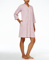 Miss Elaine Gripper-Front Printed Knit Robe