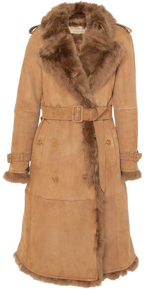 Burberry The Tolladine Shearling Trench Coat - Camel
